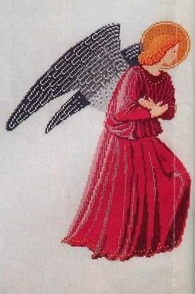 Схема вышивания крестом - Ангел в красном