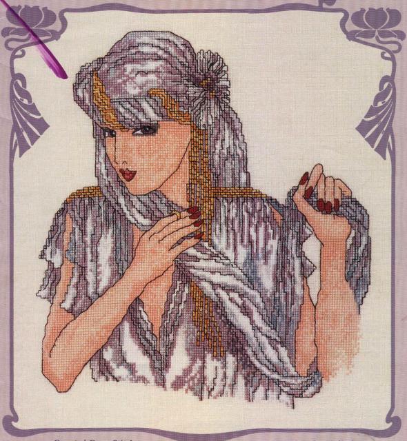 Схема вышивания крестом - Леди