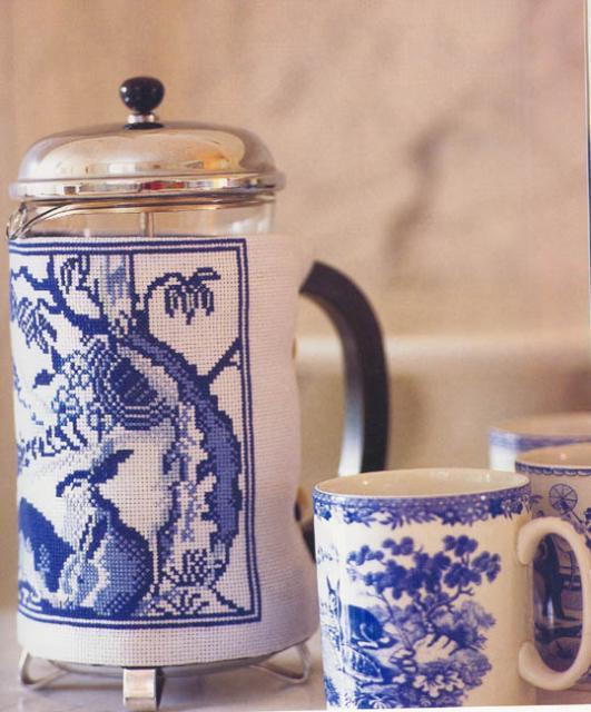 Схема вышивания крестом - Для чайника, Гжель
