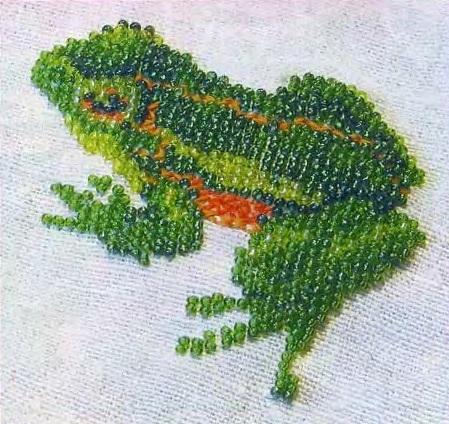 Схема вышивания бисером - Лягушка