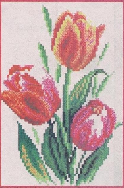 Схема вышивания бисером - Тюльпаны