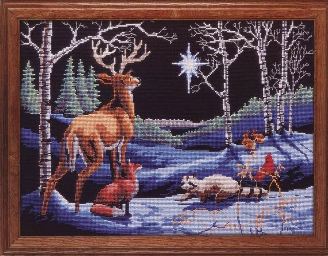 Схема вышивания крестом - Ночью в лесу