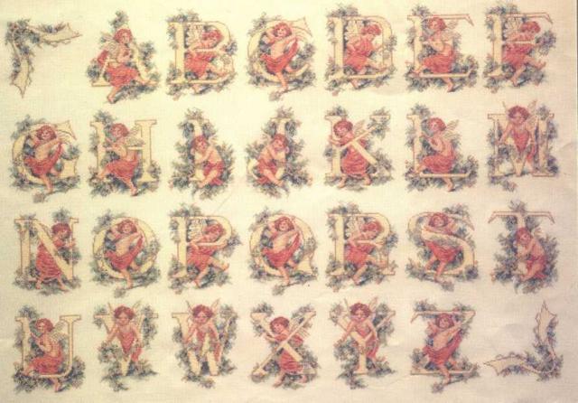 Схема вышивания - Английские буквы с ангелочками
