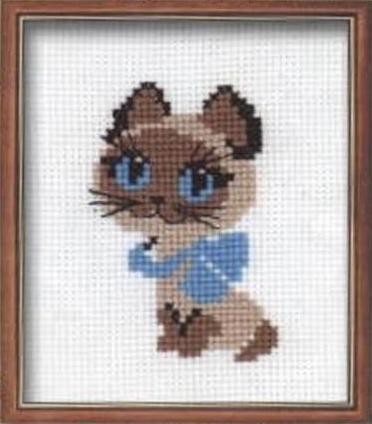 Схема вышивания крестом - котенок Гав