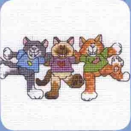 Схема вышивания крестом - Весёлые котята