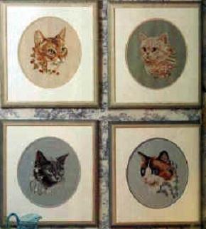 Схема вышивания крестом - Четыре кошки