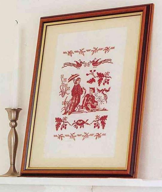 Схема вышивания крестом - В красном цвете