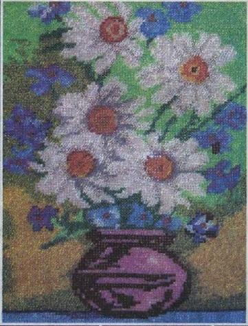 Схема вышивания бисером - Ромашки