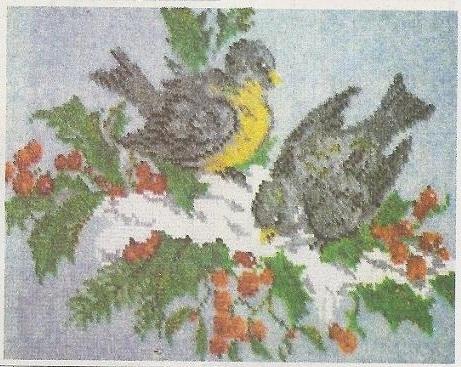 Схема вышивания бисером - Синички