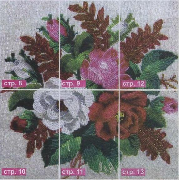 Схема вышивания бисером - Красочный букет