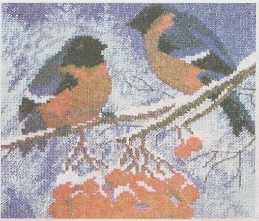Схема вышивания бисером - Снегири