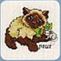 Схема вышивания крестом - Кошка с мышкой