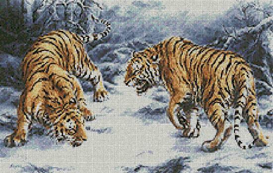 Схема вышивания крестом - Противоборство тигров