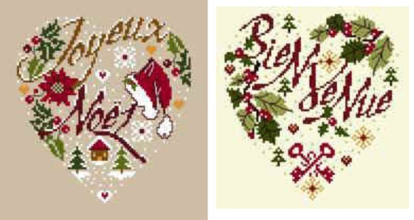 Схема вышивания крестом - Рождественское сердце