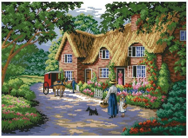 Схема вышивания крестом - Загородный дом