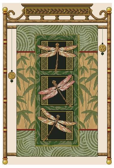 Схема вышивания крестом - Стрекозы