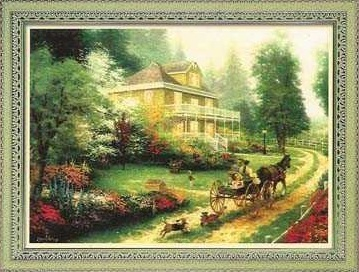 Схема вышивания крестом - Деревенский пейзаж