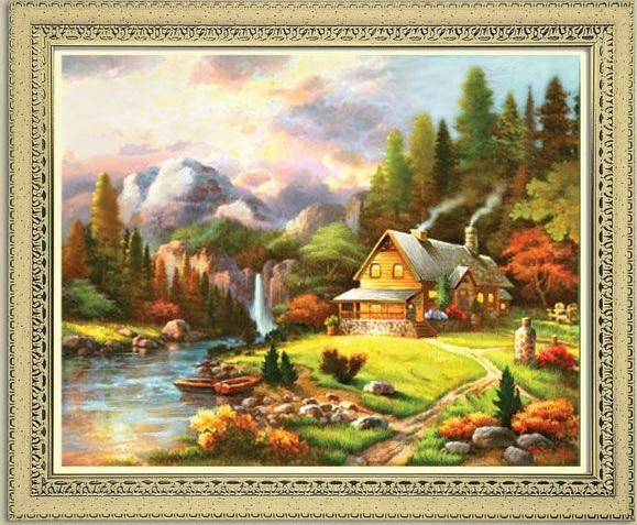 Схема вышивания крестом - Дом у реки
