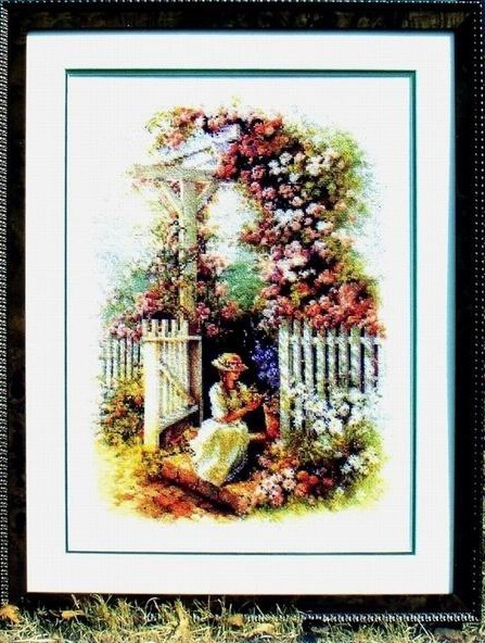 Схема вышивания крестом - Девушка в саду
