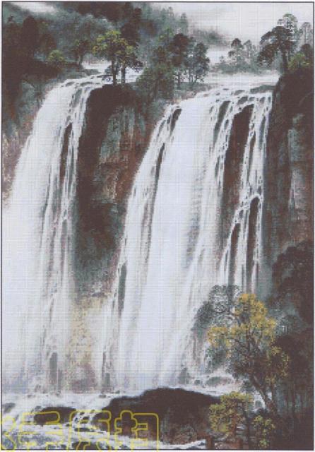 Схема вышивания крестом - Водопад