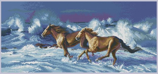 Схема вышивания крестом - Бегущие лошади