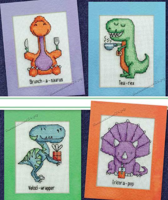 Схема вышивания крестом - Динозавры