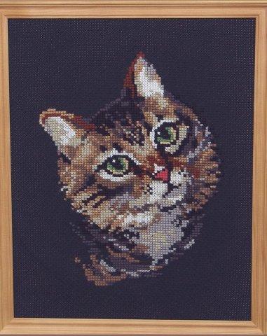 Схема вышивания крестом - Пёстрый кот