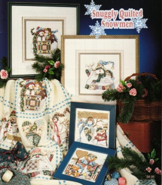 Схема вышивания крестом - Снеговики (картина или плед)