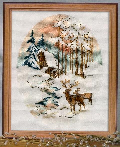 Схема вышивания крестом - Зимний лес