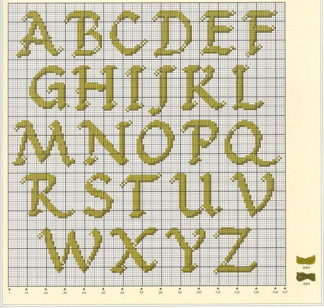 Схема вышивания крестом - Английские буквы