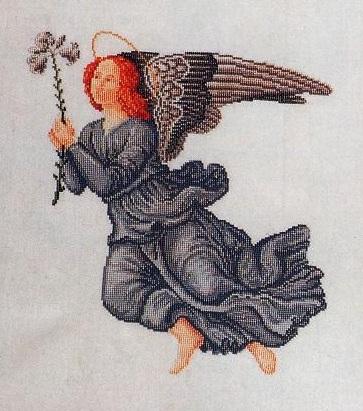 Схема вышивания крестом - Ангел в чёрном