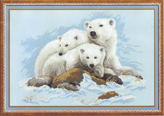 Схема вышивания крестом - Белые медведи