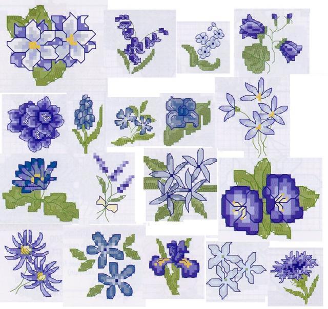 Схема вышивания крестом - Маленькие голубые цветы
