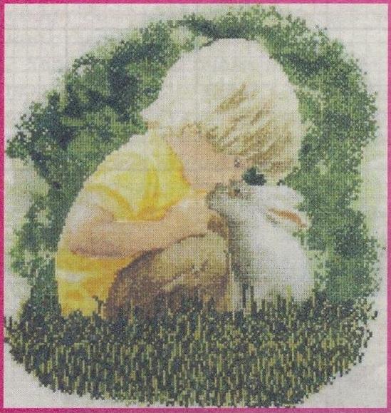 Схема вышивания бисером - Мальчик и кролик