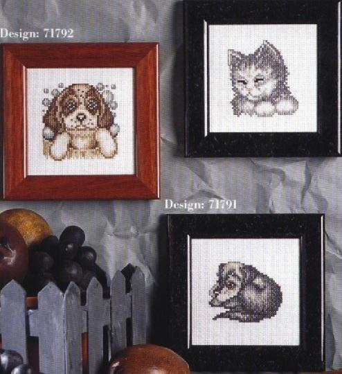 Схема вышивания крестом - Щенки и котёнок