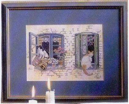 Схема вышивания крестом - Кошки на окошках
