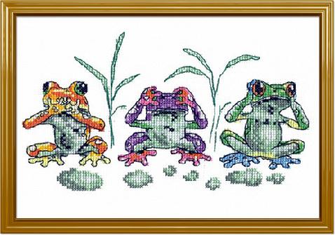 Схема вышивания крестом - Лягушки