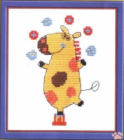 Схема вышивания крестом - Весёлая Корова