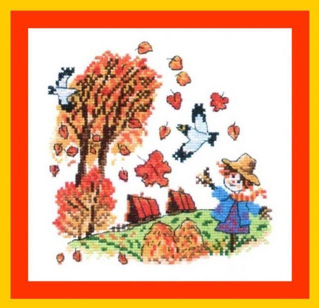 Схема вышивания крестом - Рыжая осень