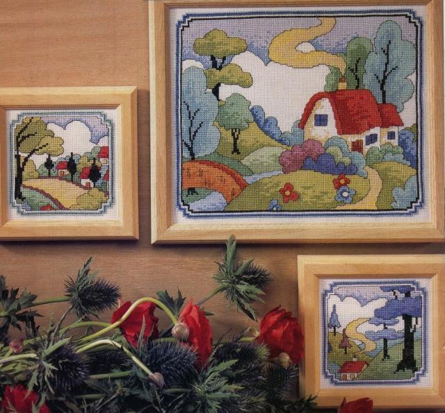 Схема вышивания крестом - Один сюжет в трех вариантах