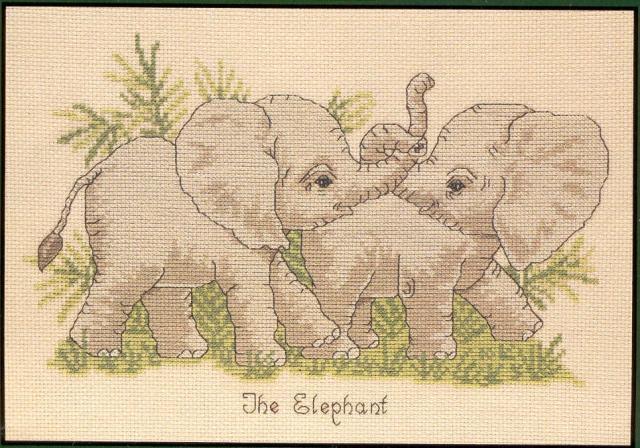 Схема вышивания крестом - Слонята