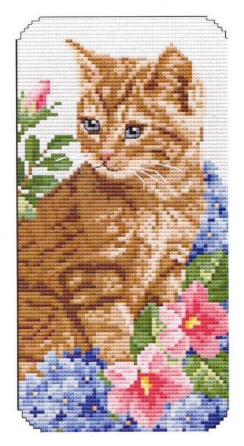 Схема вышивания крестом - Котёнок - очешник