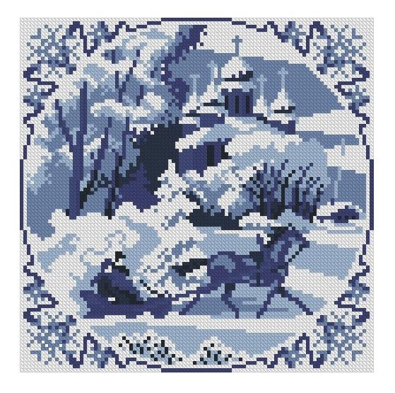 Схема вышивания крестом - Зимний сон