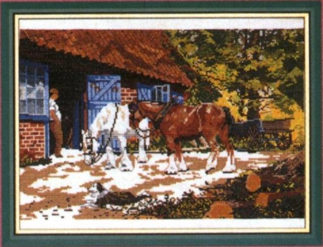 Схема вышивания крестом - Лошади в деревне