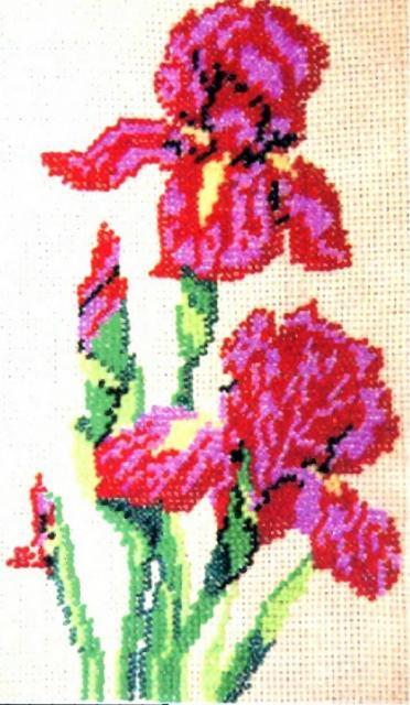 Схема вышивания бисером - Ирисы