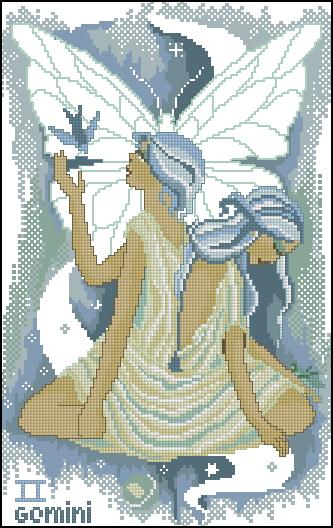 Схема вышивания крестом - Знаки зодиака Близнецы