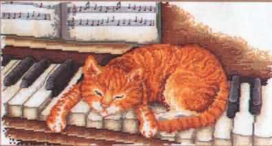 Схема вышивания крестом - Кот и пианино