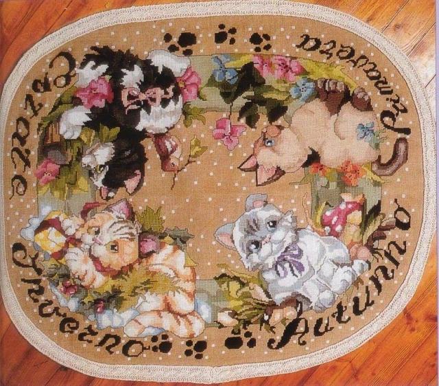 Схема вышивания крестом - Коврик с котятами