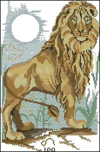 Схема вышивания крестом - Знаки зодиака Лев