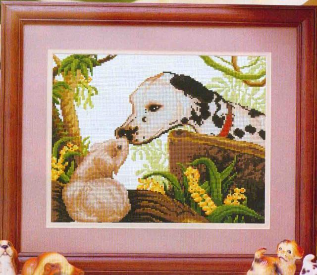 Схема вышивания крестом - Любопытный щенок